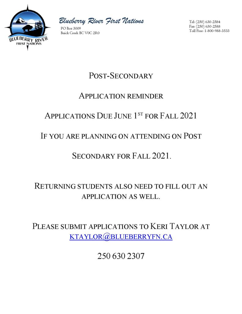 Post Secondary Reminder