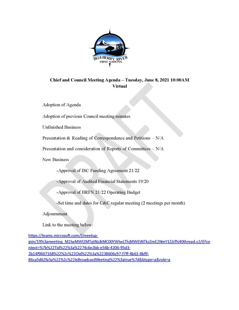 Chief & Council Meeting - June 8th 2021