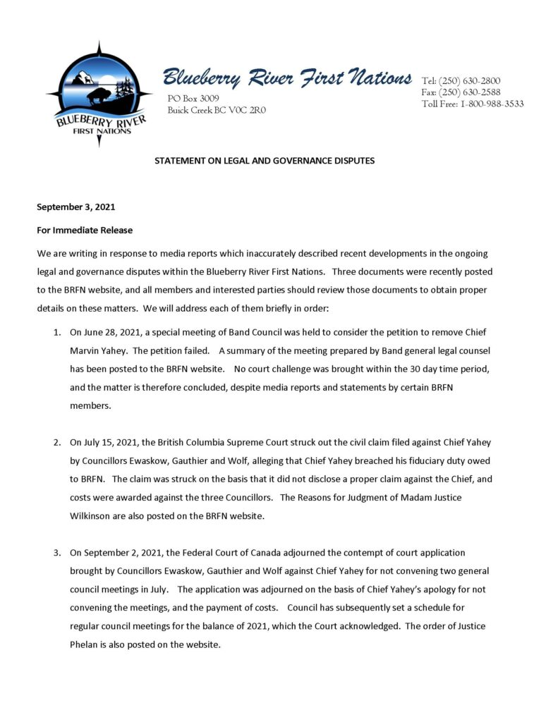Statement on Legal and Governance Disputes