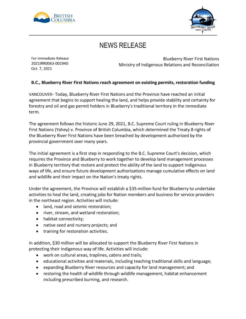 News Release - Agreement reached with BC